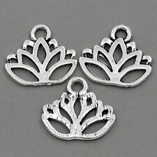"HELLO 50 Charm Pendants Lotus Flower Silver  17mmx14mm(5/8""x4/8"")"