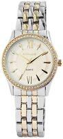 Damenuhr Weiß Silber Gold Strass Analog Metall Quarz Armbanduhr X-1800126-006