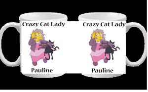PERSONALISED CRAZY CAT LADY FUNNY NOVELTY GIFT CHRISTMAS BIRTHDAY MUG 162
