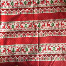 50x150cm Cotton Linen Fabric DIY Craft Material Christmas Tree Deer Red Base 8 S