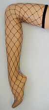 FISHNET LARGE NET THIGH HIGH STOCKINGS STAY UP FASHION BLACK BEIGE  FAST POST