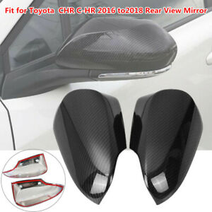 2PC Car Rear View Mirror Shell Cover Carbon Fiber Style Decor Fit For C-HR 16-18