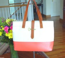 FOSSIL Coated Canvas Austin Shopper Tote in Natural & Hot Coral  NWT $148