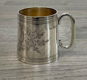 Antique Sterling Silver Hallmarked Edwardian Christening Mug 1912 London
