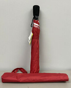"""NEW Compact Automatic Open Rainkist Red Poly Umbrella 43"""" W/Cover With UV Block"""