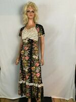 VTG 60-70s Hand Made Long Dress Black Floral Lace Flare Sleeve Lace Hippy Boho S