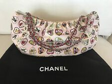 NWT RARE AUTH CHANEL CANVAS VALENTINES HEARTS PINK HOBO BAG PURSE SILVER