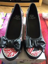 Black Red White Sugar Wedged Pumps. Brand New in Box UK Size 5