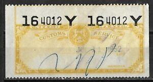US Customs Service Inspection Label - Yellow