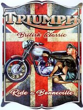 TRIUMPH BRITISH CLASSIC  . All Weather Aged look Metal Sign 475x360