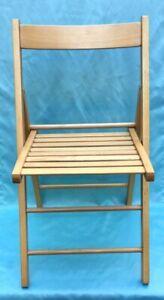 Vintage Oak Wood Slat Seat Folding Chair - Nice!!