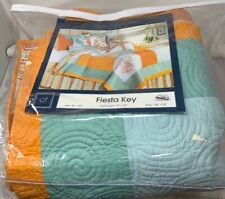 C&F Home 89895 Fiesta Key Quilt Reversible, King Coverlet Comforter, Blue