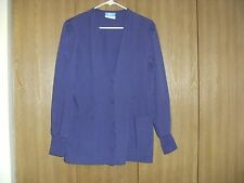 ladies size (s) crest purple snap front long sleeve scrub top