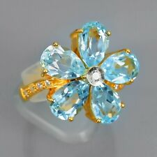 Very Flashing! 9.01 Carat Natural Sky Blue Topaz Flower Ring in 925 Silver