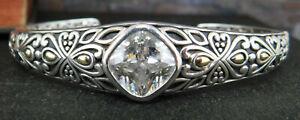 Angela by John Hardy 925 Sterling Silver & 14K Gold CZ Hinged Cuff Bracelet