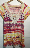 Sonoma Womens Scoopneck Short Sleeve Shirt Blouse Top Tie Dye Small