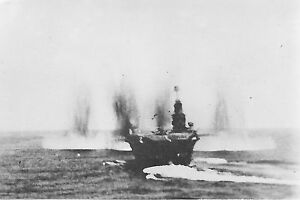 HMS Ark Royal under attack. World War 2 photograph