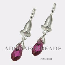 Authentic Chamilia Sterling Silver Bead Drop Briolette Fuchsia Earring 1320-0001