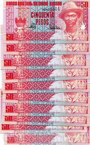 10x Guinea-Bissau 50 Pesos 1990 Unc pn 10