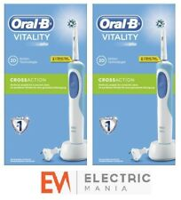 2 x Braun Oral-B Vitality Cross Action Rechargeable Electric Toothbrush - Blue