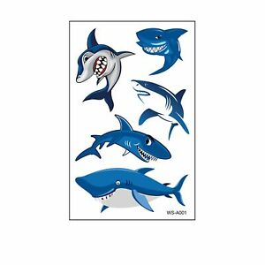 Shark Tattoo Sticker Cover Scars Party Temporary Decal 3D Body Tattoo Sticker