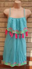 PRIMARK BLUE STRAPPY PINK TASSEL EMBROIDERED RUFFLE BEACH TUNIC CAMI DRESS S