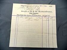 Letterhead Advertising BM Rattenbury Invoice 1898 Charlottetown PEI Pork Packers
