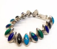Vtg Sterling Silver Link Bracelet Azurite Turquoise Lapis Lazuli Inlay Mexico