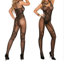 Womens Sexy Open Crotch Stockings Crotchless Fishnet Sheer Body Dress Lingerie U