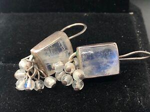 Vintage Sterling Silver Earrings 925 Moonstone Dangle Cha Cha