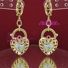 Real Solid 14k Yellow Gold GF Earring Hoop Drop Huggies Dangle Simulated Diamond