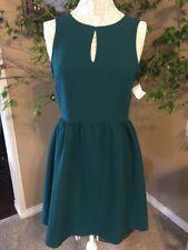 Womens Hunter Green Sleeveless Swing Dress SZ LG Peep Hole Front Retail $82