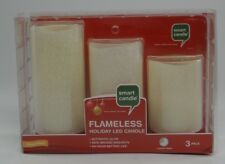 SMART CANDLE~FLAMELESS FLICKER HOLIDAY LED CANDLE ~3 Pillars Unscented White~NEW