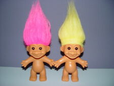 """2 Troll Dolls 4 1/2"""" Russ Pink and Yellow Hair"""