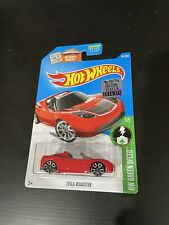 Hot Wheels 2016 Factory Sticker Red Tesla Roadster New On Card HTF Elon Musk