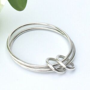 Chunky Silver Double Bangle Floating Infinity Circle Hammered and Handmade