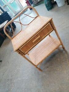 Vintage Tiki Mid Century Bamboo Cane Rattan Side Table Magazine Draw Boho