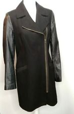 Ted Baker Coat Jacket Size 3 Wrap Wool Cashmere Black Faux Leather Sleeve Size 8