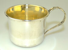 ANTIQUE MANCHESTER STERLING SILVER SMALL BABY CUP FANCY REPOUSSÉ HANDLE NO MONO