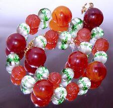 Carnelian Stone Shou Bead Necklace by Crown Trifari Amber Bakelite Cut Crystal