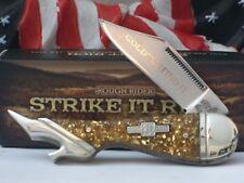 RR1519 Couteau Forme de Jambe de Femme Acier 440 Manche Gold Flake Rough Rider