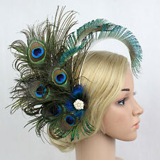 1920's Peacock Feather Hairpin Hair Clip Fascinator Masquerade Party Headpiece