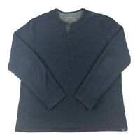 Eddie Bauer Mens Henley Shirt TXL Navy Blue Long Sleeve Casual 3 Button Sweater
