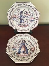 """Outeiro Agueda Portugal Set Of 2 Blue And White 8"""" Octagonal Plates"""