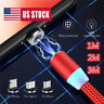US Stock 360° Round Magnetic Charger Charging USB Cable Adapter IOS/Micro/Type-C