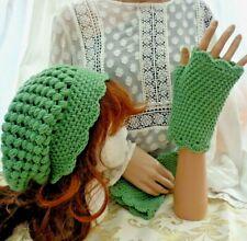 Handmade Crochet Ladies Slouchie Beanie hat & Matching Gloves - Moss Green