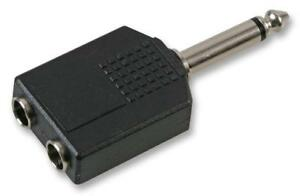 "2 x 6.35mm mono Sockets to mono Jack Plug Y Splitter Adaptor Converter 1/4 """