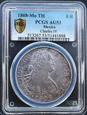 Mexico 1808-MO TH 8 Reales Charles IV PCGS Graded AU 53 Rare