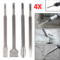 4PIECES SDS CHISEL SET FOR HAMMER DRILL FLAT POINTED GROOVE GOUGE 250mm MASONRY