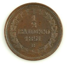1851-VIR Papal States Italy Mezzo 1/2 Baiocco Coin (XF) Pius IX Rome KM-1355